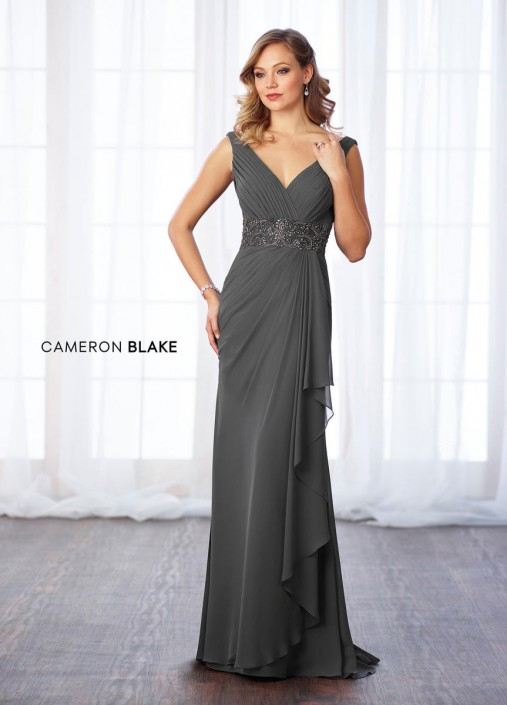 42291c2fa0 Cameron Blake 217641 Chiffon MOB Dress with Removable Sleeves  French  Novelty
