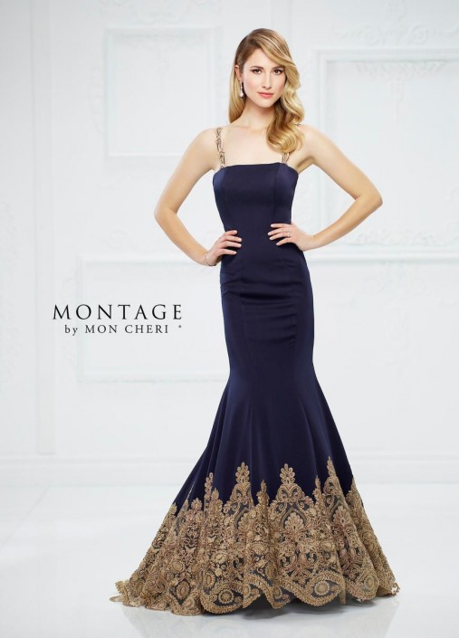 46eab3fbd2 Montage by Mon Cheri 217940 Crepe Gown with Lace  French Novelty