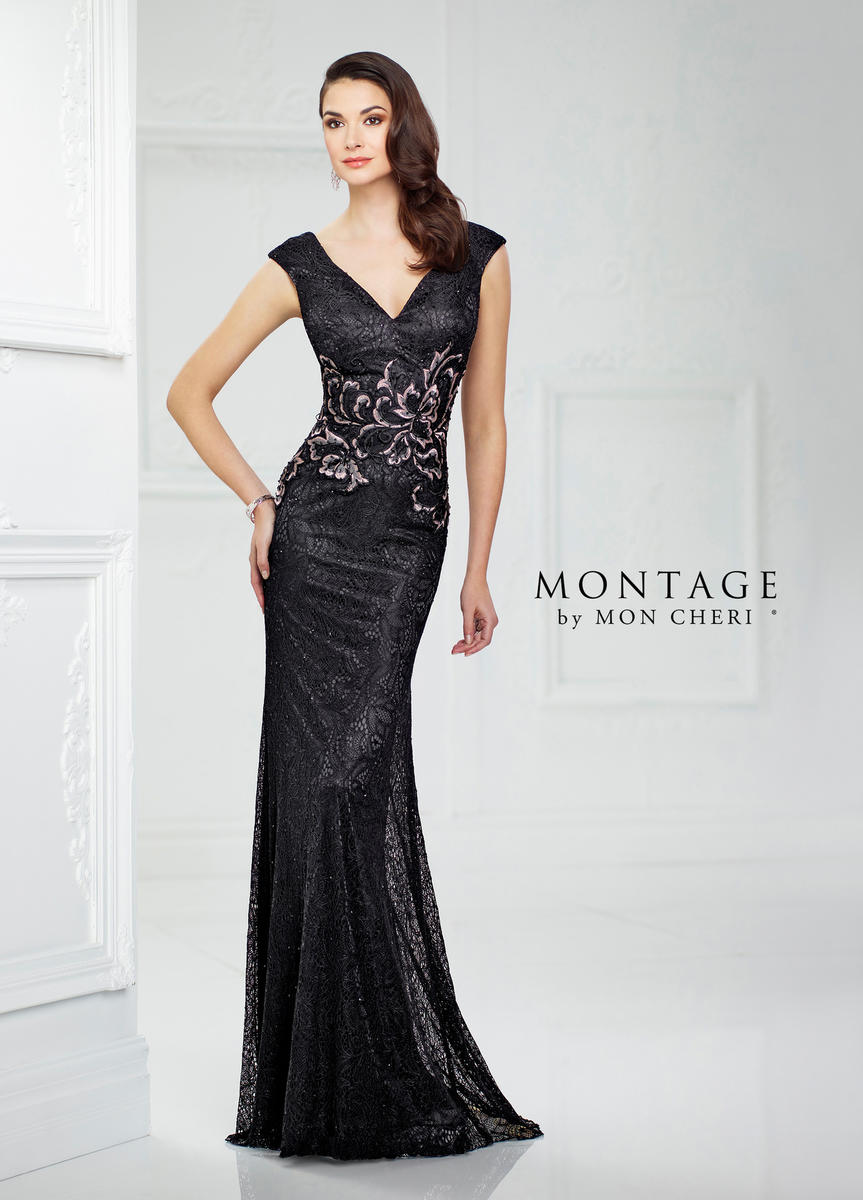 Montage 217946 Lace Gown with Removable Sleeves: French Novelty