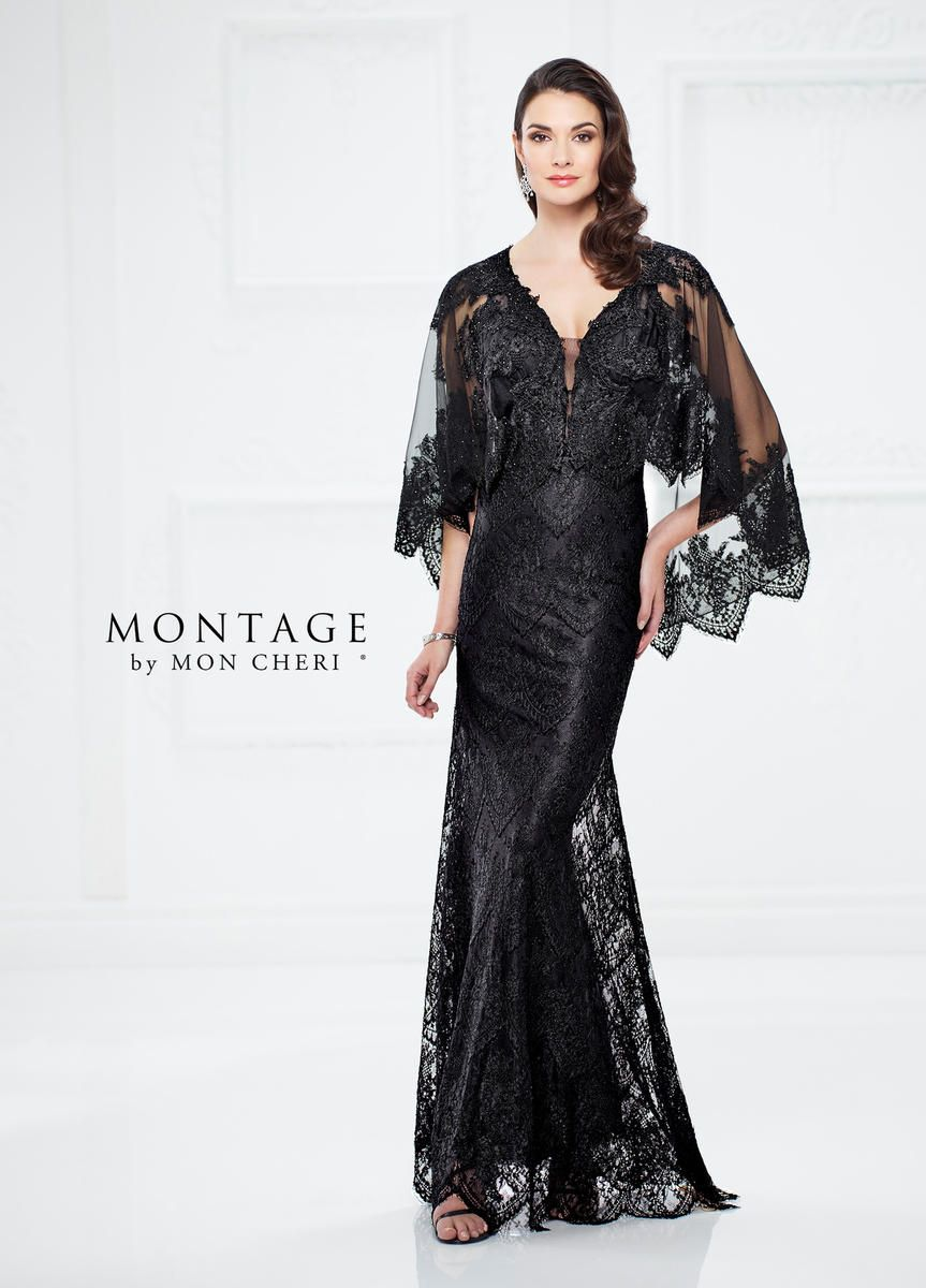 Montage By Mon Cheri 217949 Lace Gown With Attached Cape