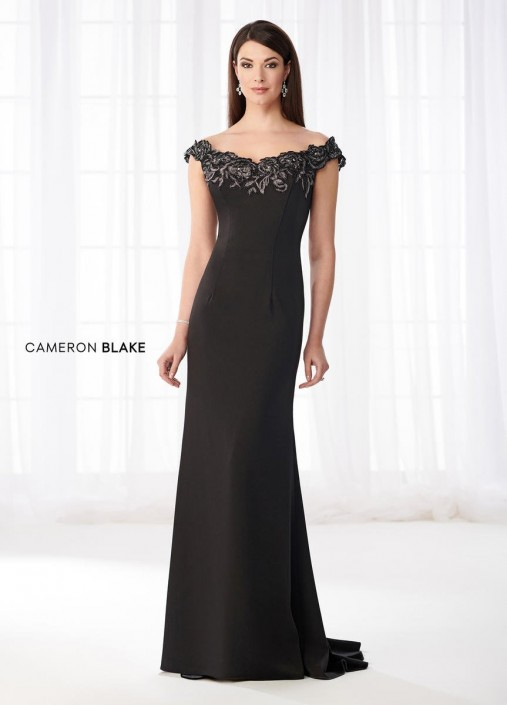 2bba2947f406 Cameron Blake 218618 Off Shoulder Gown with Metallic Lace: French Novelty