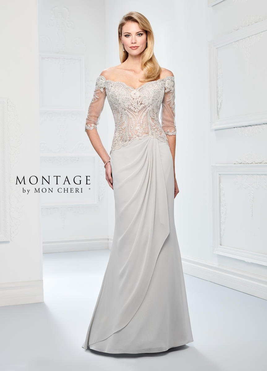 where to buy best choice super specials Montage 218905 Off Shoulder Sheer Lace Gown