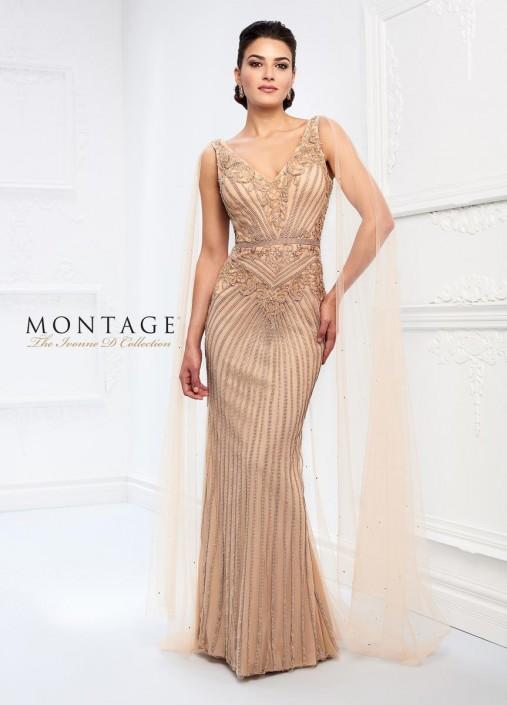 Ivonne D 218d30 Metallic Gown With Sheer Floor Length Cape
