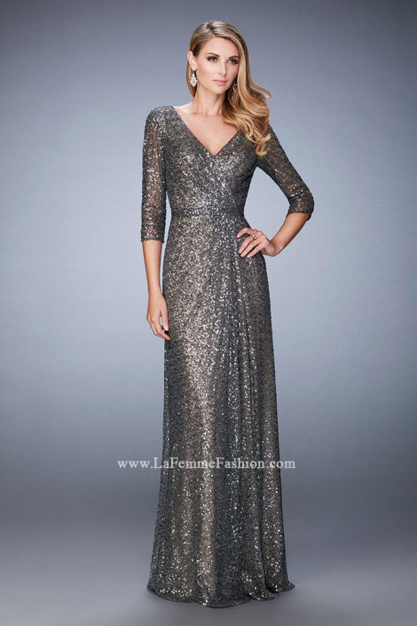 La Femme 21900 Sequin Evening Gown: French Novelty