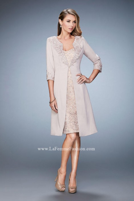 La Femme 21903 Wedding Guest Dress with Jacket: French Novelty
