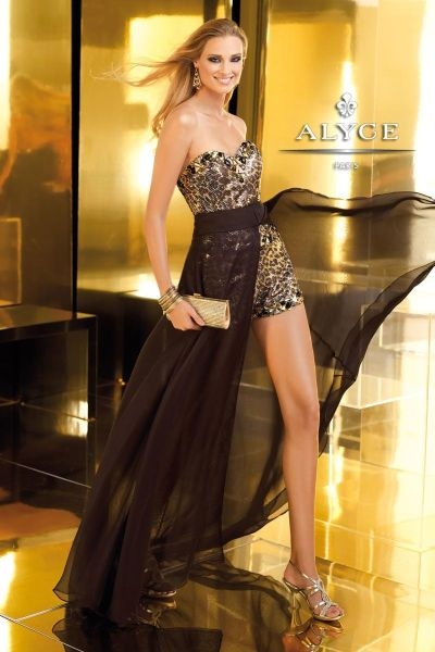 Alyce Claudine 2210 High Low Romper Dress French Novelty