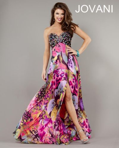 Jovani 2220 Colorful Print Party Dress: French Novelty