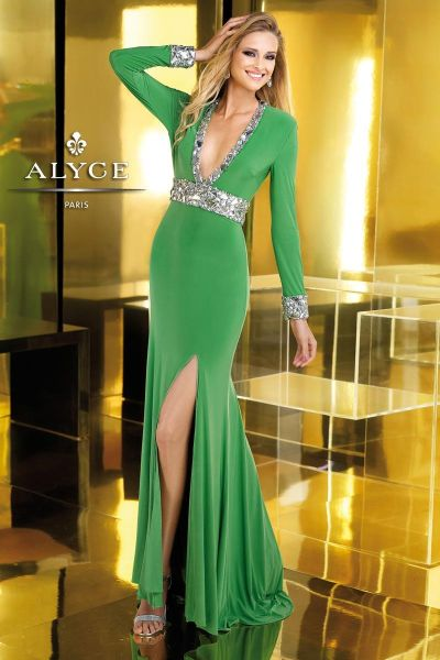 Alyce Claudine 2225 Long Sleeve Jersey Gown French Novelty