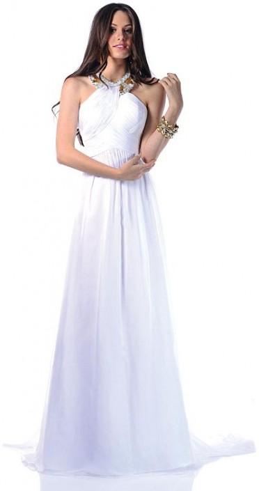 Johnathan Kayne White Gold Beaded Grecian Prom Dress 223