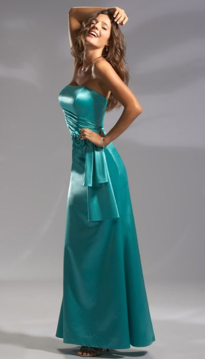 Pretty Maids Long Satin Bridesmaid Dress with Side Tails 22385 ...