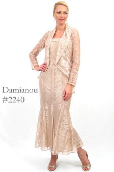 8d56e662b3c Damianou Two Piece Mother of the Bride Jacket Dress 2240  French Novelty