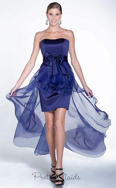 Pretty Maids 22511 High Low Satin and Organza Bridesmaid Dress ...