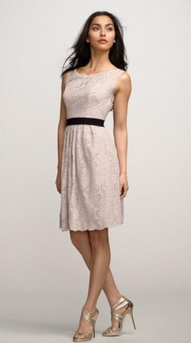 Size 8 Blush Mocha Rosequartz Watters 2255 Lace Bridesmaid Dress