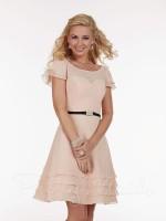 Size 8 Blush Pink Pretty Maids 22588 Illusion Short Bridesmaid Dress image
