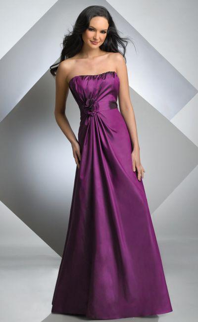 Size 12 Bari Jay Magenta Strapless Long Taffeta Bridesmaid ...