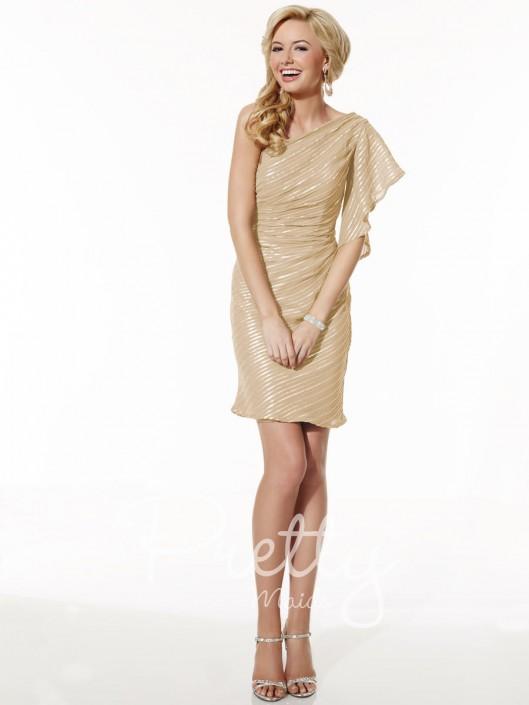Christina Wu 22614 One Shoulder Short Bridesmaid Dress: French Novelty
