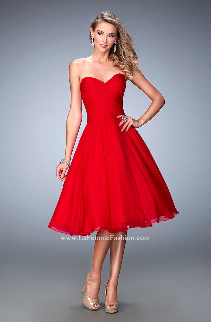 La Femme 22638 Tea Length Party Dress: French Novelty