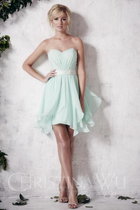 Christina Wu Occasions 22653 Short Hanky Hem Bridesmaid Dress
