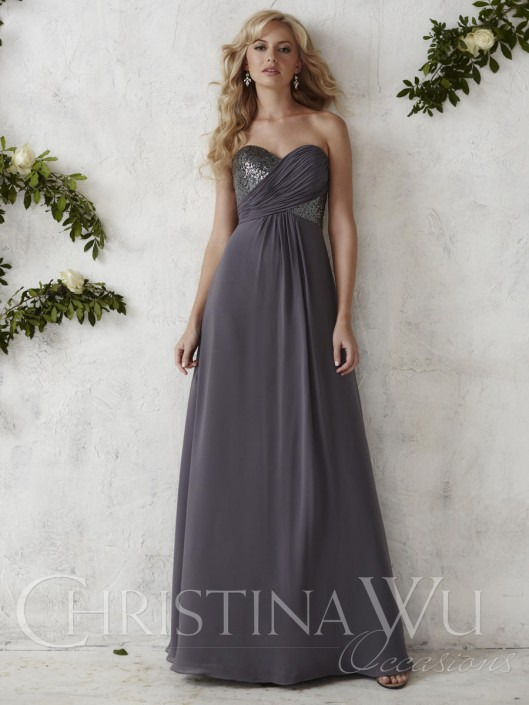 cf94688a99e Christina Wu Occasions 22687 Sequin Chiffon Bridesmaid Gown  French Novelty