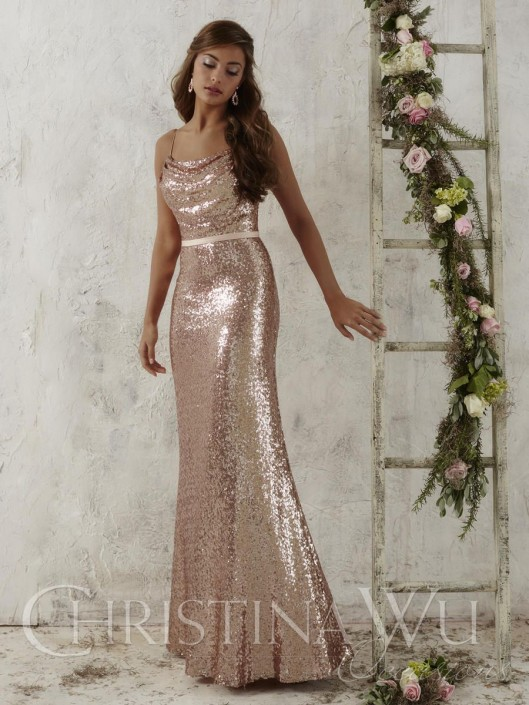 Christina Wu Occasions 22706 Long Sequin Bridesmaid Dress