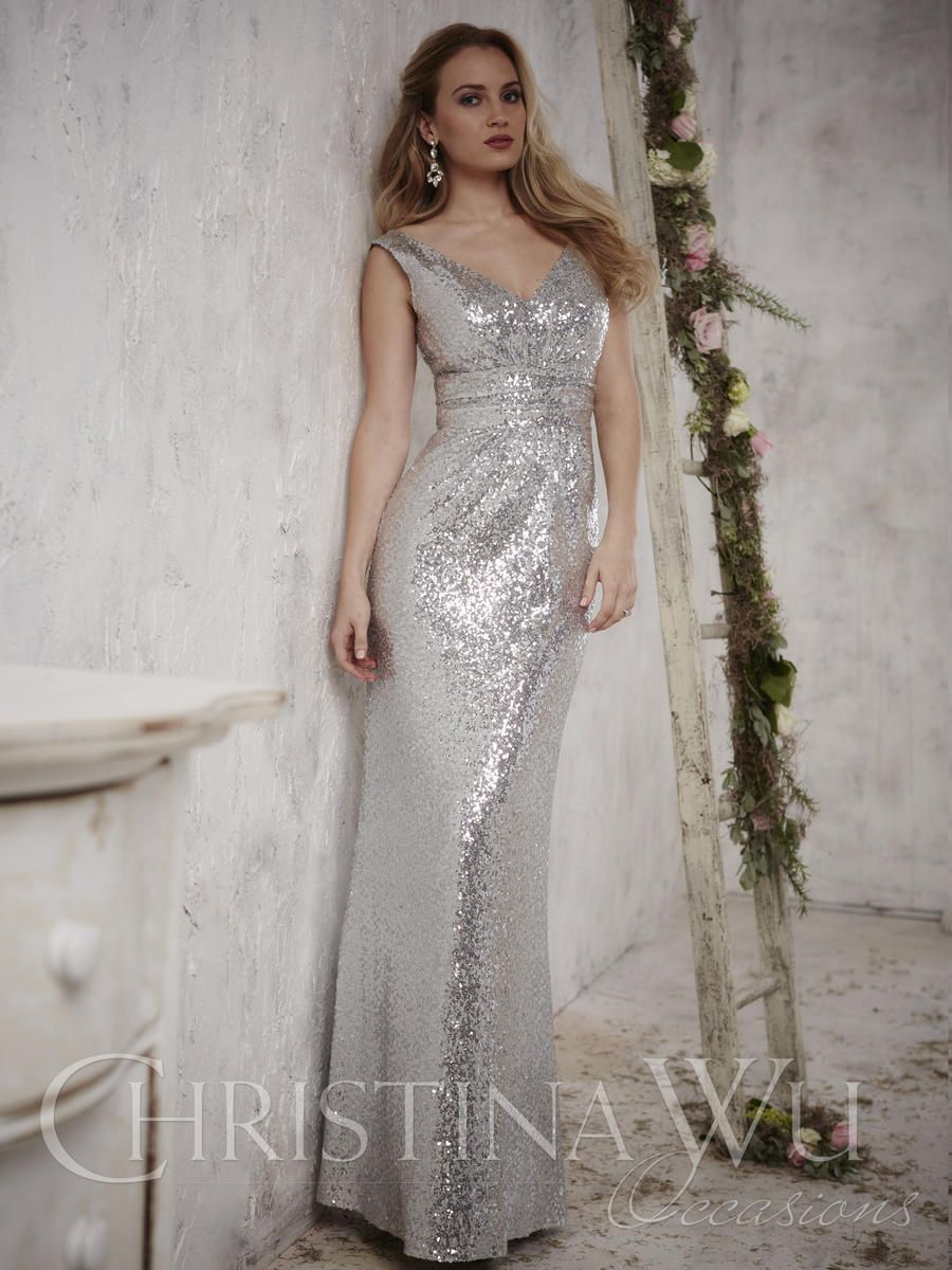 christina wu occasions 22708 v neck sequin bridesmaid gown