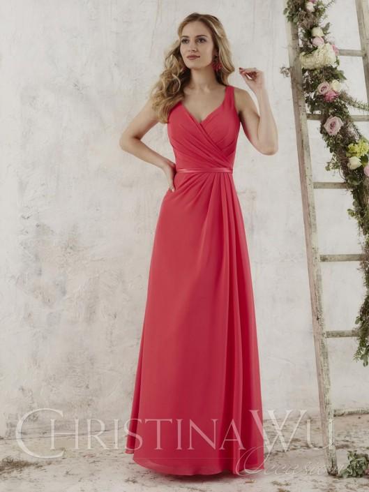 c37107ba Christina Wu Occasions 22713 V Neck Chiffon Bridesmaid Gown: French Novelty