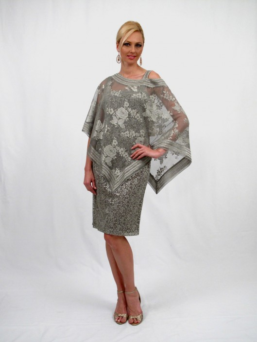 Damianou 2272 Two Piece Mother Of The Bride Dress With Poncho