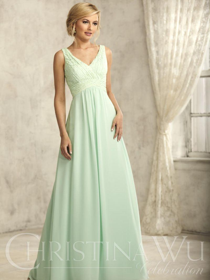 Christina Wu 22734 Lace and Chiffon Bridesmaid Dress: French Novelty