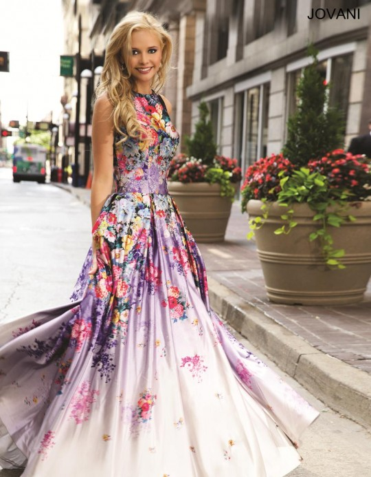 Jovani 22753 Satin Floral Print Ball Gown: French Novelty