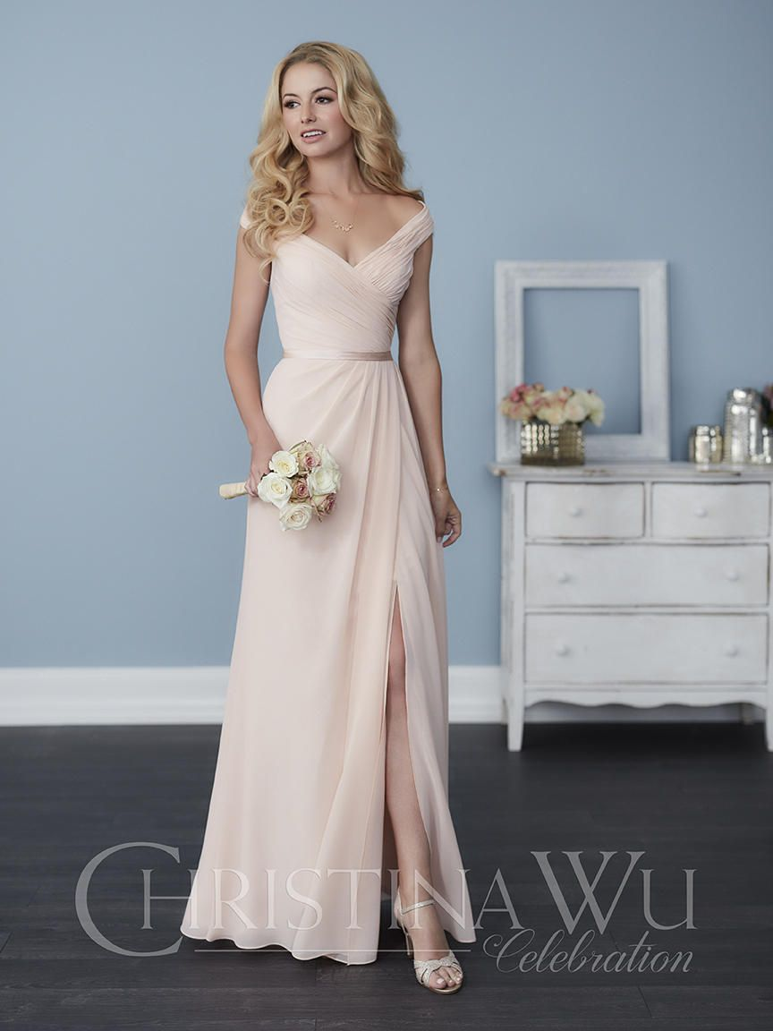 8abf5d6757 Christina Wu Celebration 22758 Off Shoulder Bridesmaid Dress  French Novelty