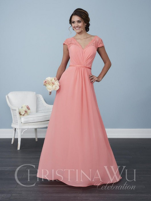2eeffbed Christina Wu 22764 Cap Sleeve Lace Bridesmaid Dress: French Novelty