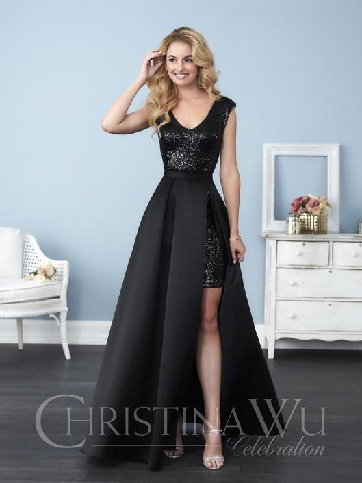 Christina Wu 22774 Sequin Removable Skirt Bridesmaid Dress