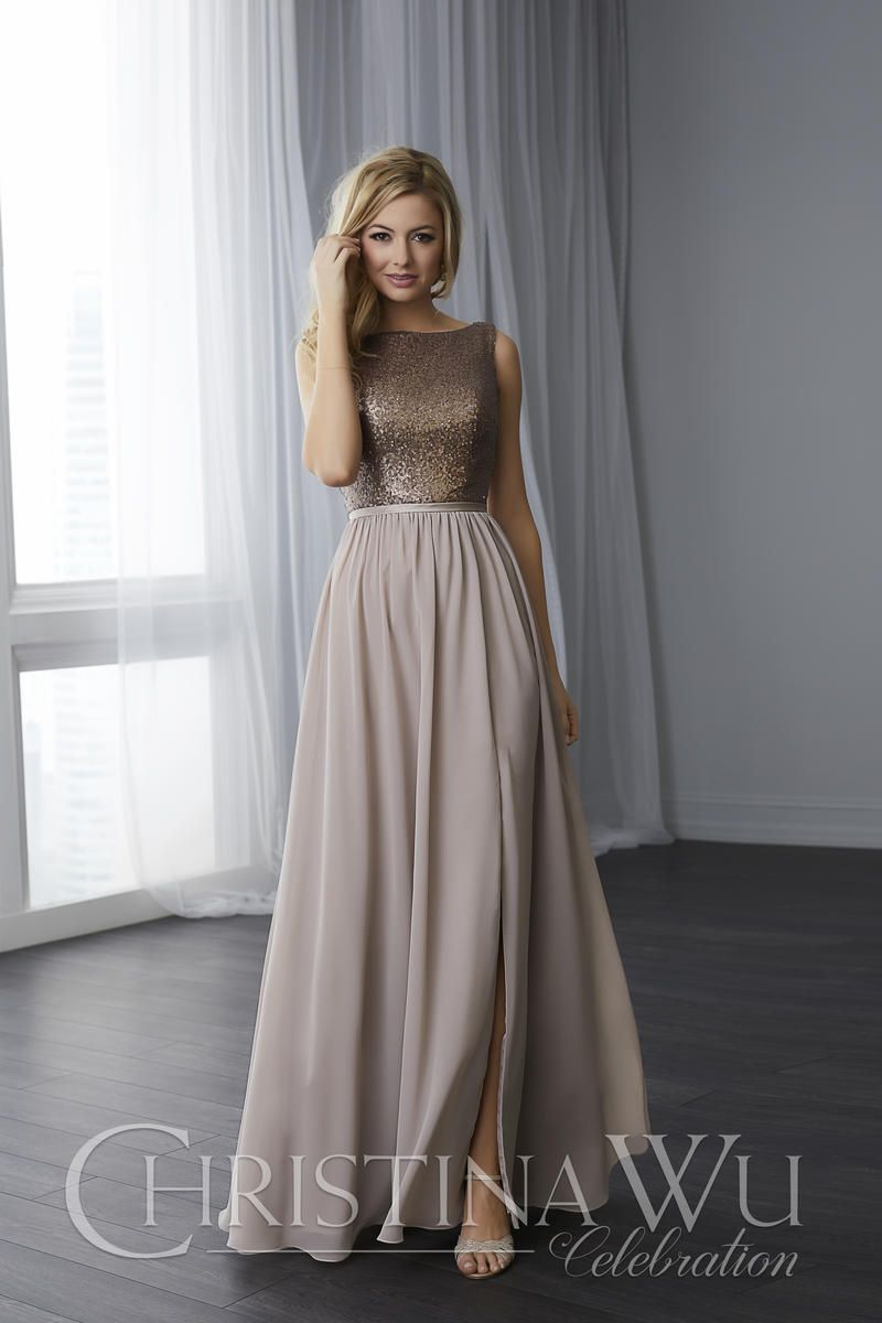 6f726c2ec1 Christina Wu 22783 Sequin and Chiffon Bridesmaid Dress  French Novelty