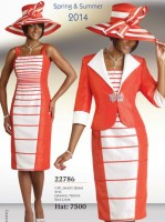 Size 14 Orange-White Chancelle 22786 Womens Jacket Dress image
