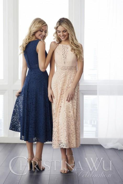 cf303a28b6 Christina wu tea length lace bridesmaid dress french novelty jpg 470x705  Adrianna christina measurements