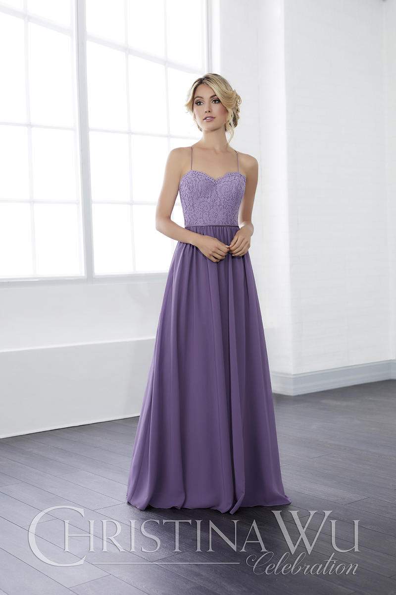 Christina Wu 22815 Lace and Chiffon Bridesmaid Gown: French Novelty