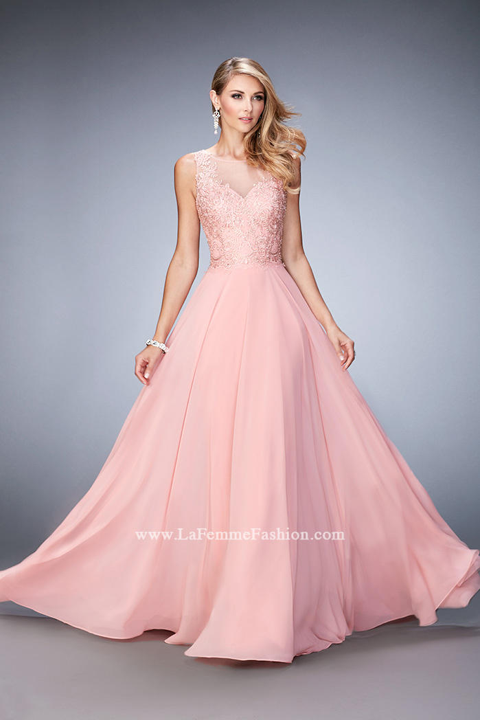 Gigi By La Femme 22824 Chiffon Gown With Beaded Lace