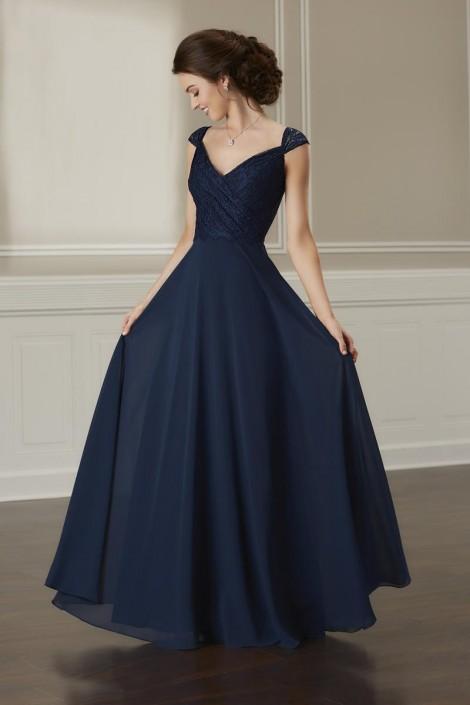Size 18 Navy Christina Wu Celebration 22892 Lace Top Bridesmaid Dress