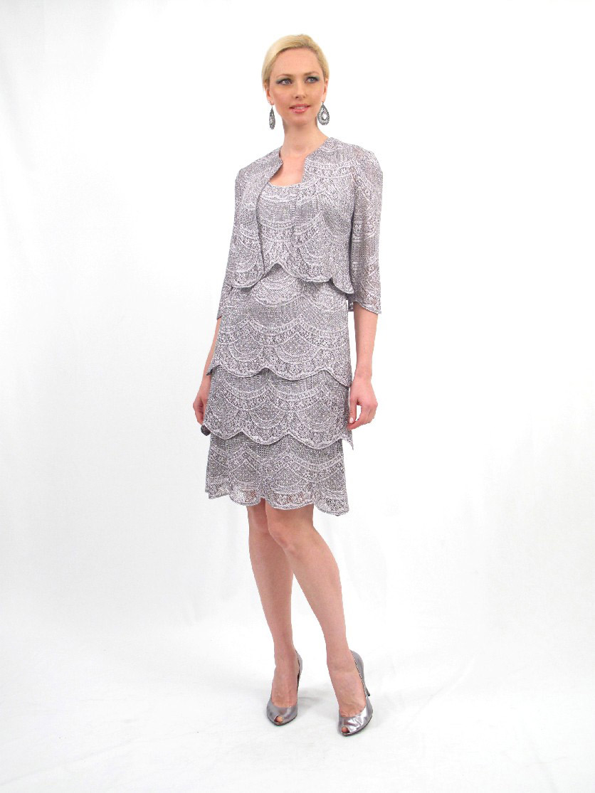 Damianou 2290 Tiered Lace Mother Of The Bride Jacket Dress