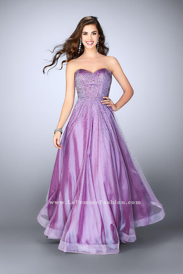 5afbcadb8e8 La Femme 22952 Beaded Tulle Prom Dress  French Novelty
