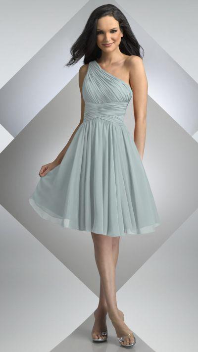 Bari Jay One Shoulder Chiffon Short Bridesmaid Dress 230: French ...