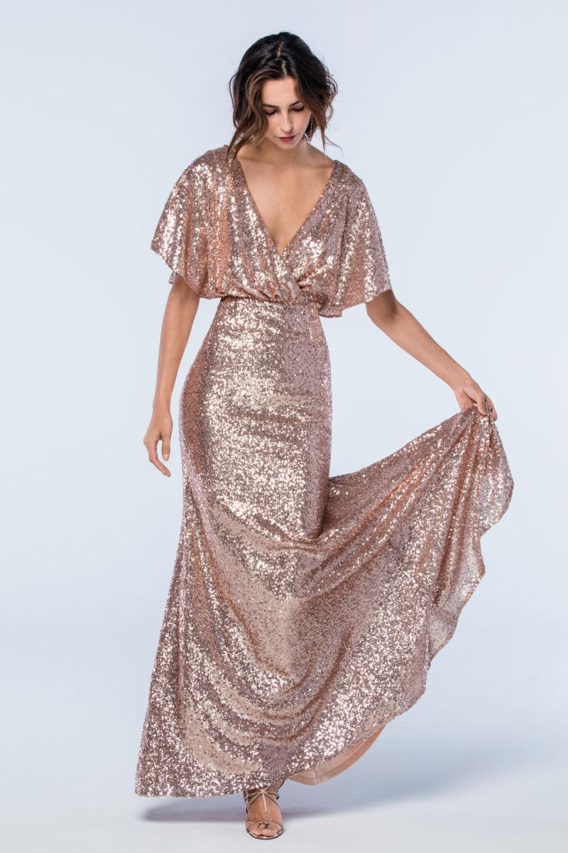 Watters 2306 elson sequin dolman sleeve bridesmaid dress for Dolman sleeve wedding dress