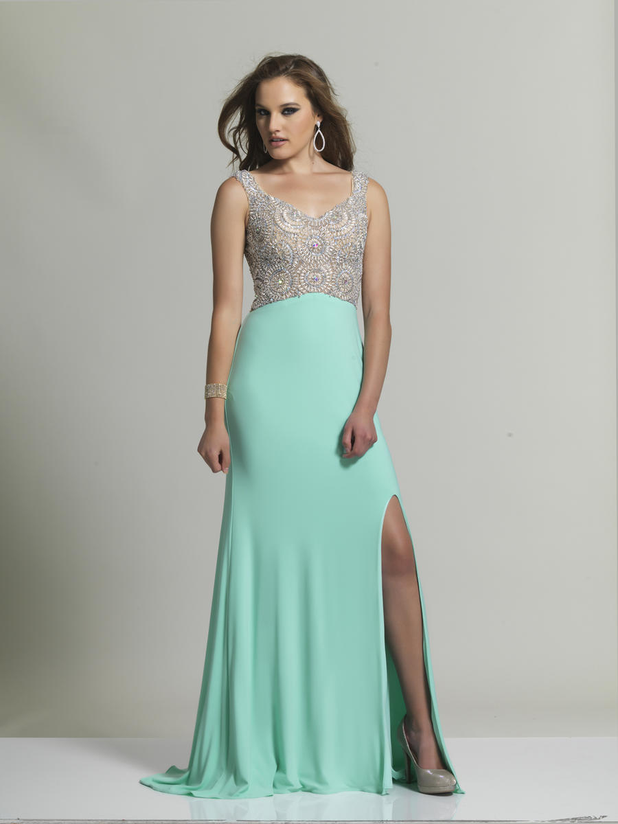 Dave and Johnny 2338 Formal Gown with High Slit: French Novelty