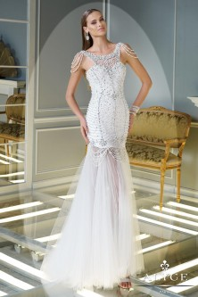 Alyce Claudine 2343 Pearl Shoulder Tulle Gown
