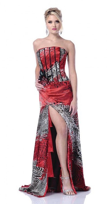 Johnathan Kayne Reversible Red Print Corset Prom Dress 235: French ...