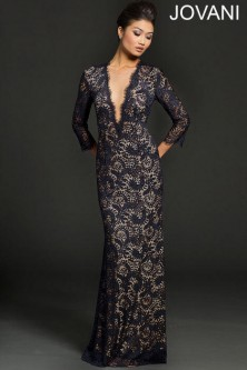 17bc71c76a0 Jovani 23662 Lace Plunging V Long Sleeve Gown