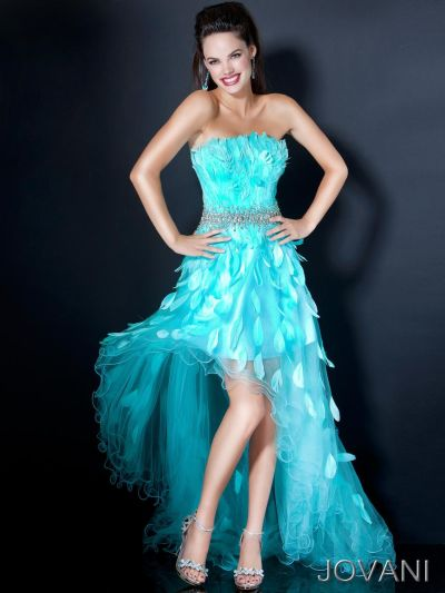 Jovani 238 Formal Dress With Feathers French Novelty