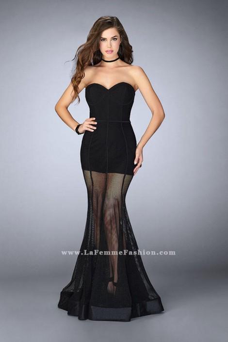 La Femme 23867 Fishnet Mermaid Prom Dress: French Novelty