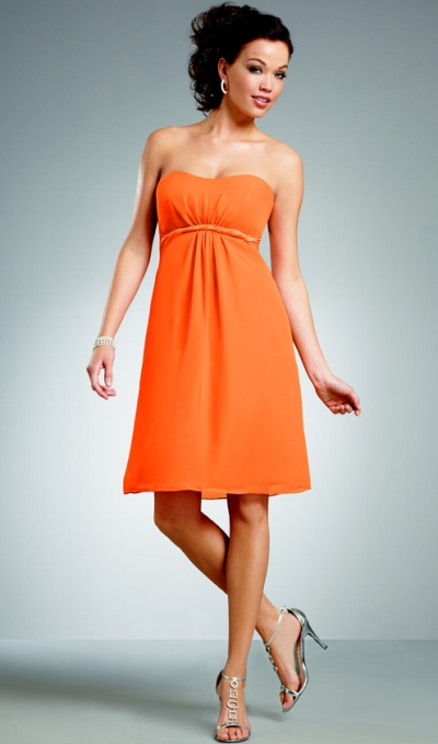 Jordan Short Strapless Empire Chiffon Bridesmaid Dress 239