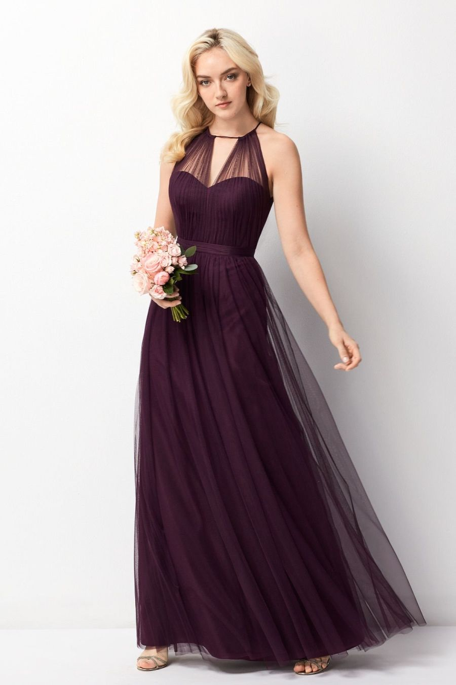 Size 14 Eggplant Wtoo 242 Sheer High Neck Bridesmaid Gown